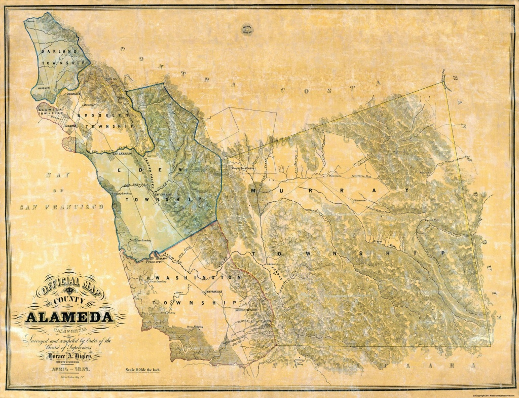 Old County Map - Alameda California - 1857 - California Map Old