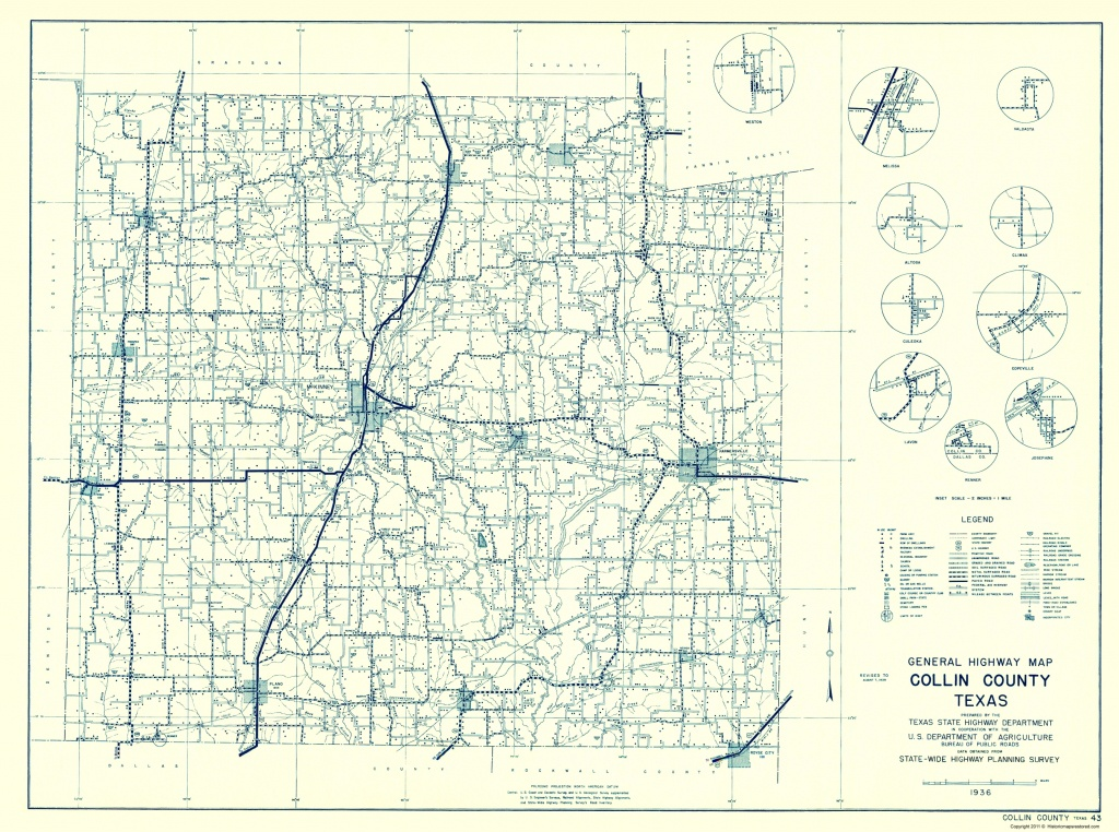 Old County Map - Collin Texas Highway - Highway Dept 1936 - Collin County Texas Map