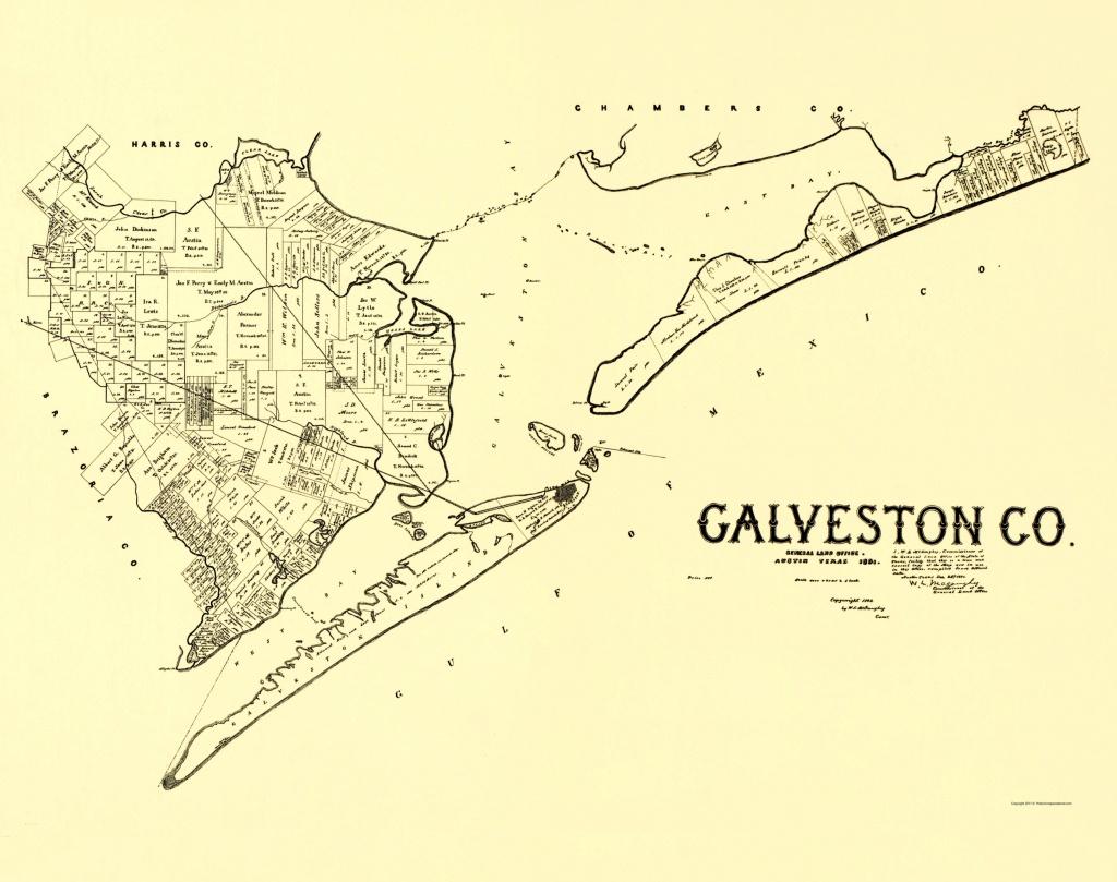 Old County Map - Galveston Texas Landowner 1892 - Texas Galveston Map
