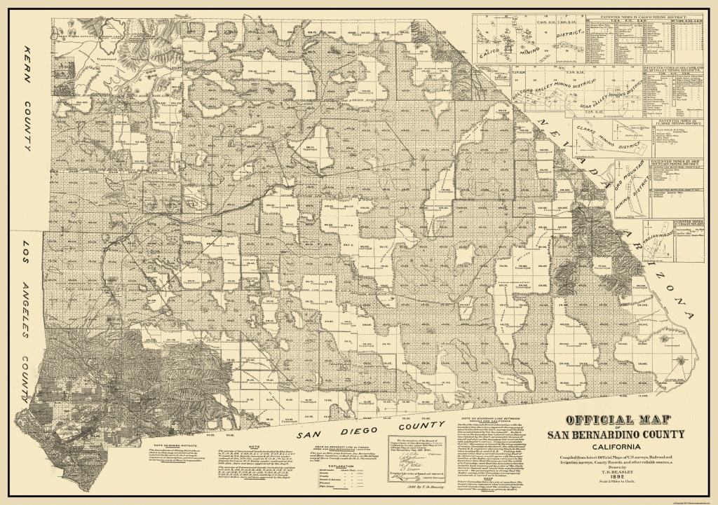Old County Map - San Bernardino California - Beasley 1892 - Map Of San Bernardino County California