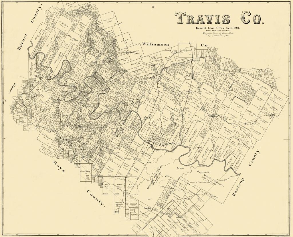 Old County Map - Travis Texas Landowner - 1894 - Travis County Texas Map