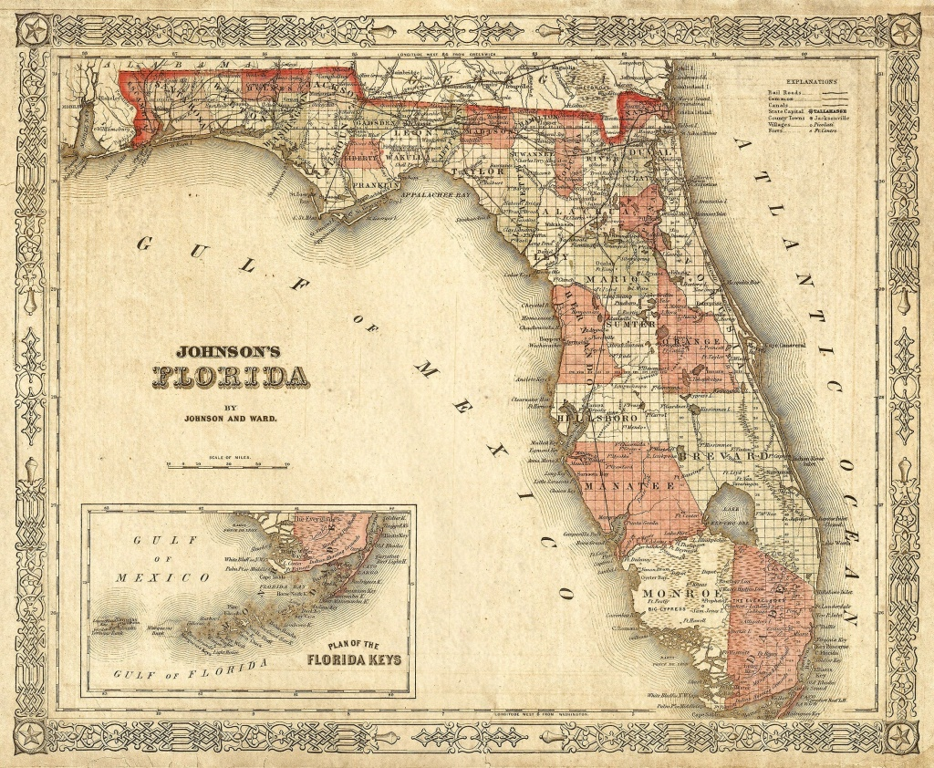 Old Florida Map 1863 Johnson's Map Of Florida Restoration | Etsy - Florida Wall Maps For Sale