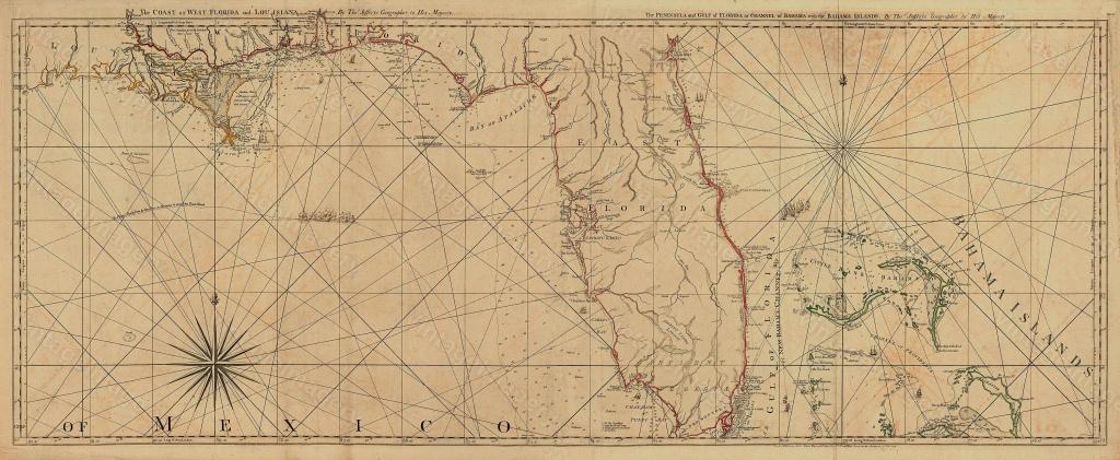 Old Florida Map Vintage Map Of Florida 1775 Restoration Deco Style - Old Florida Map