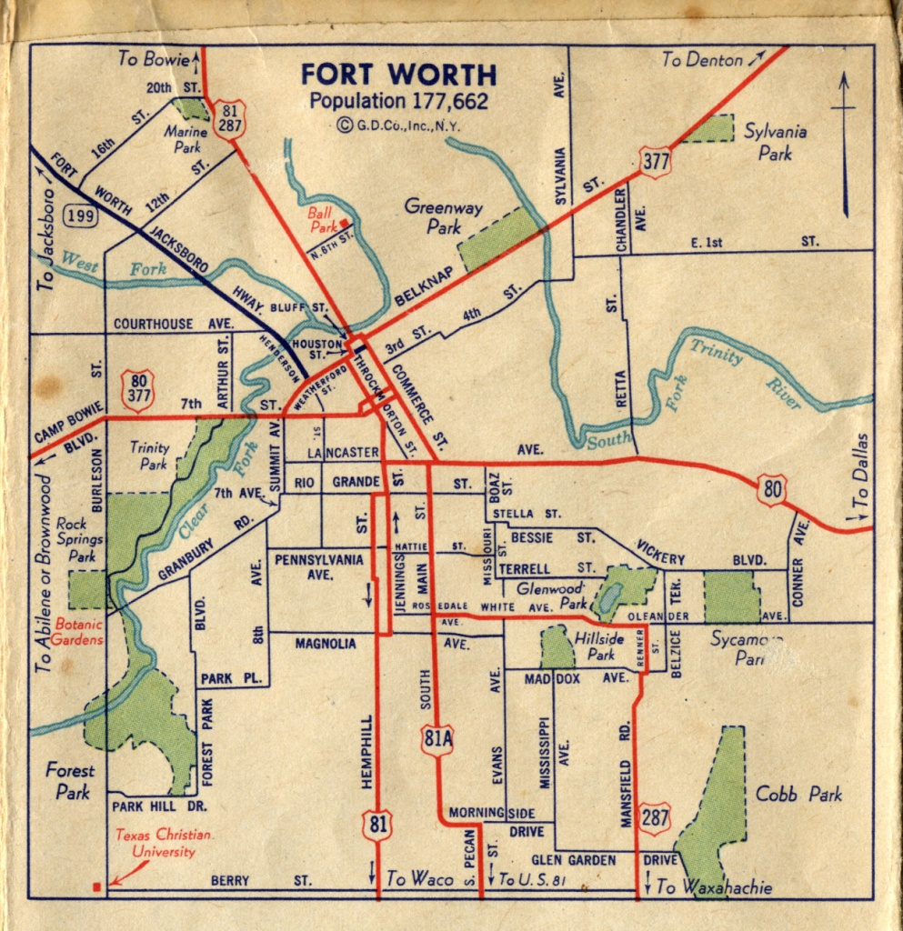 Old Highway Maps Of Texas - Street Map Of Fort Worth Texas