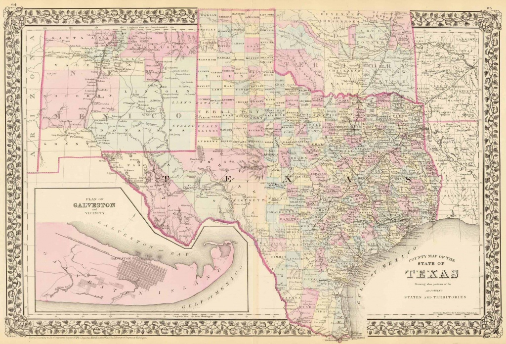 Old Historical City, County And State Maps Of Texas - Texas Maps For Sale