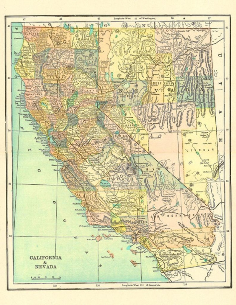 Old Map Of California Over 100 Years Old A Printable Map For | Etsy - Printable Old Maps