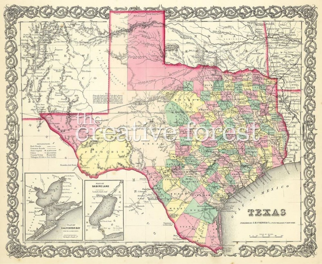 Old Map Of Texas, 1856 Vintage Texas State Map Rolled Canvas Print - Old Texas Maps Prints