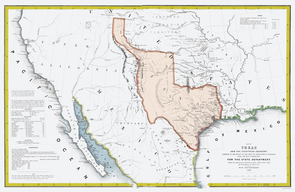 Old Map - Texas Republic And Adjacent Countries 1844 - Republic Of Texas Map