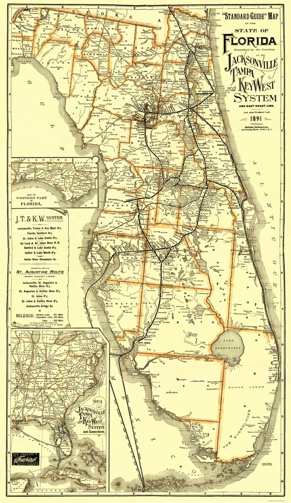 Old Railroad Map - Jacksonville, Tampa, And Key West 1891 - Florida Railroad Map