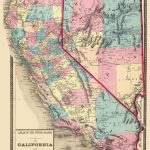 Old State Map   California, Nevada   1872   Map Of California And Nevada