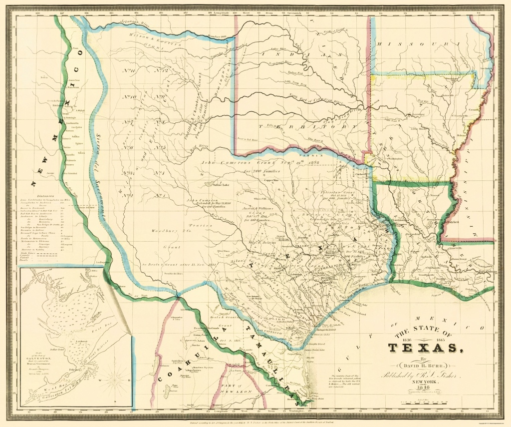Old State Map - Texas - Burr 1846 - Texas Map 1846