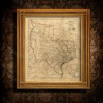 Old Texas Wall Map 1841 Historical Texas Map Antique Decorator   Vintage Texas Map Framed