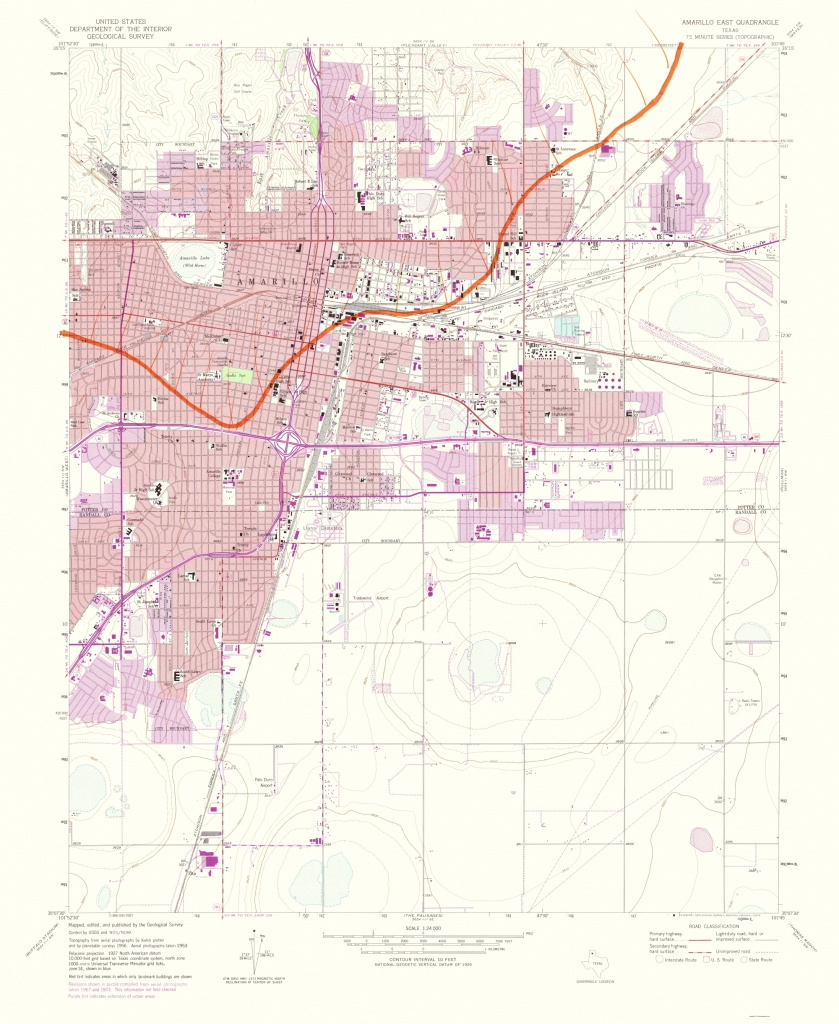 Old Topographical Map - Amarillo, East Texas 1975 - Printable Map Of Amarillo Tx