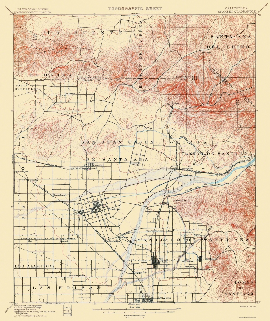 Old Topographical Map - Anaheim California 1901 - Map Of Anaheim California And Surrounding Areas
