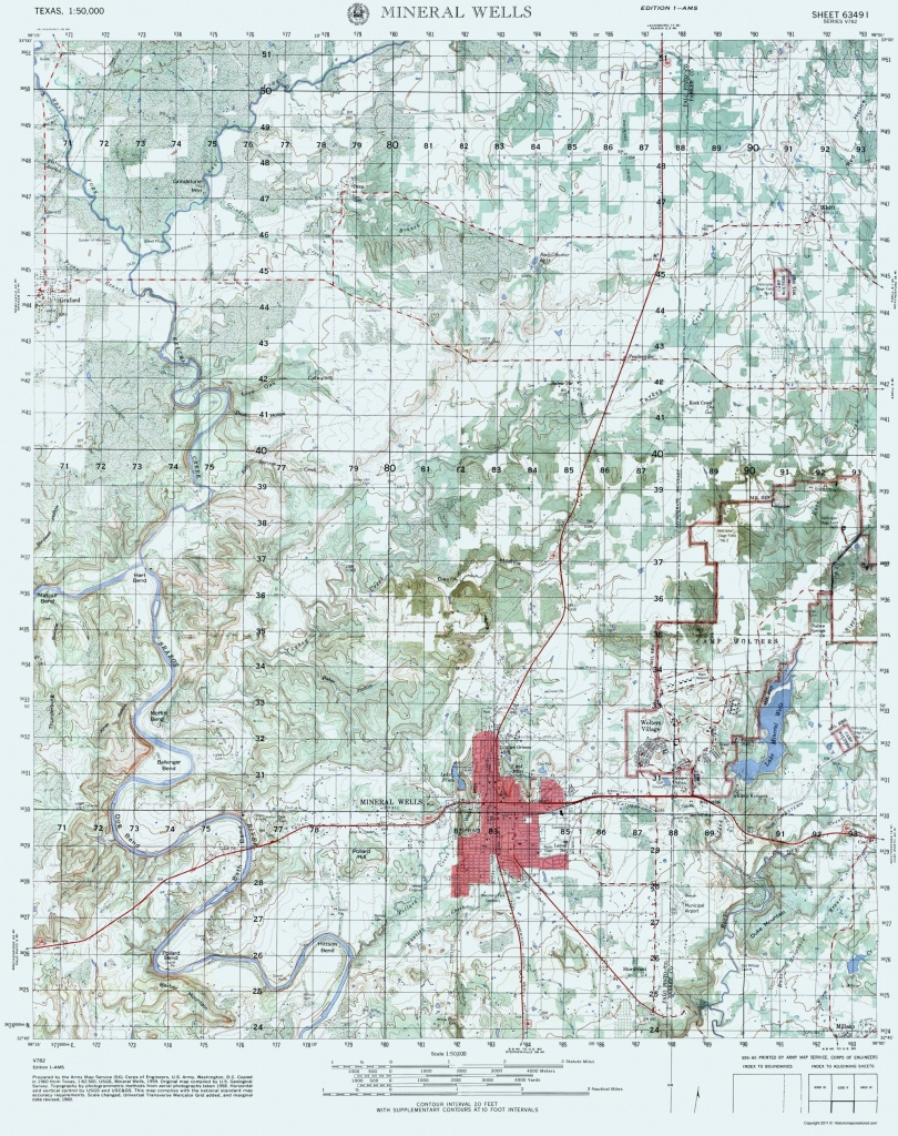 Old Topographical Map - Mineral Wells Texas 1960 - Mineral Wells Texas Map