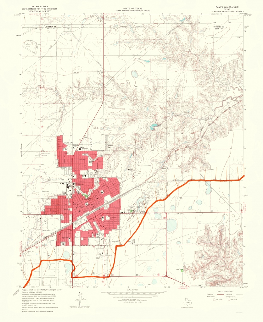 Old Topographical Map - Pampa Texas 1968 - Pampa Texas Map