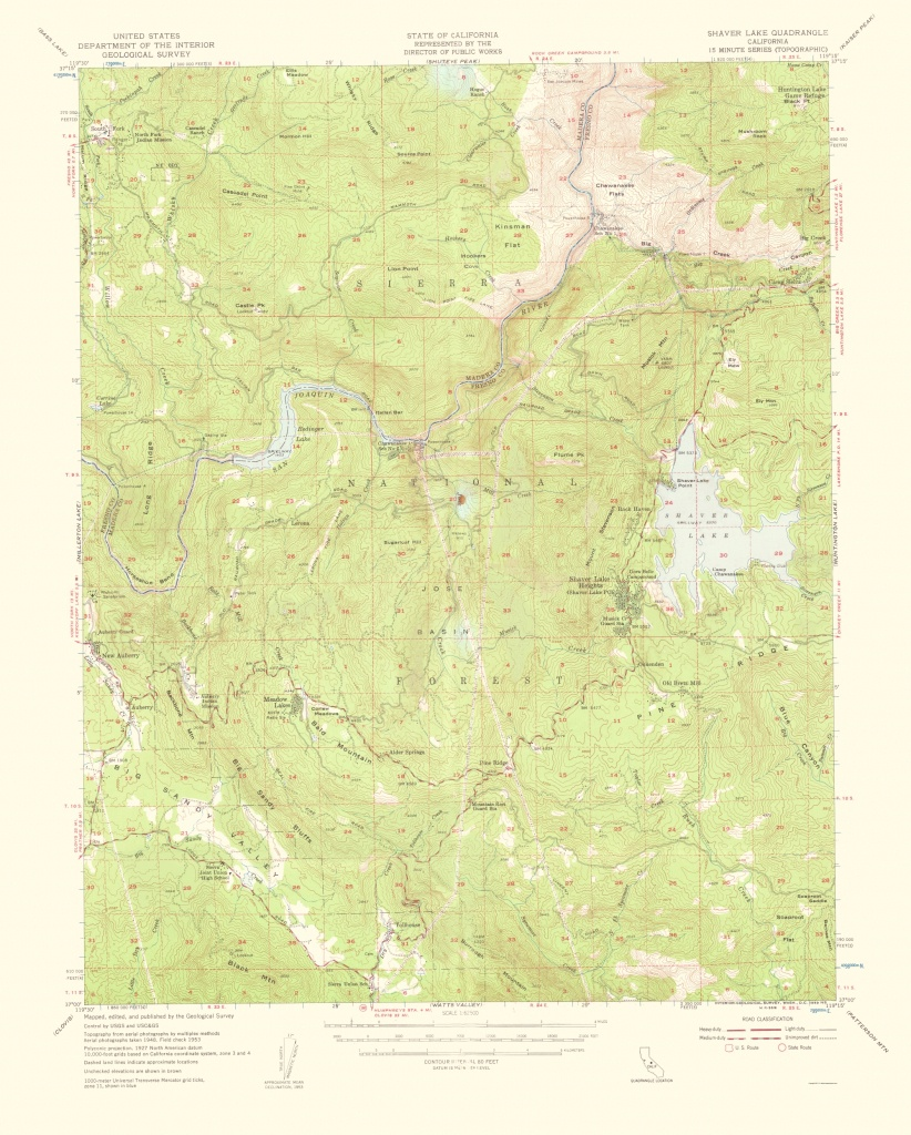 Old Topographical Map - Shaver Lake California 1959 - Shaver Lake California Map