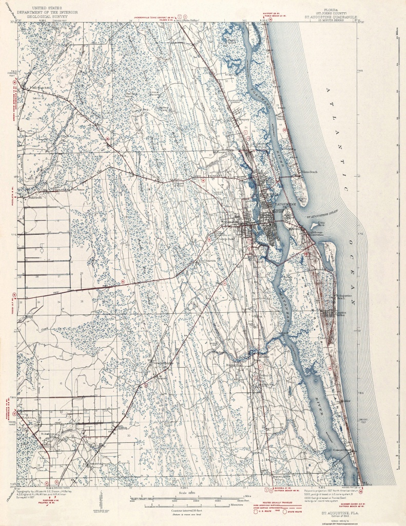 Old Topographical Map - St Augustine Florida 1943 - Map Of St Johns County Florida