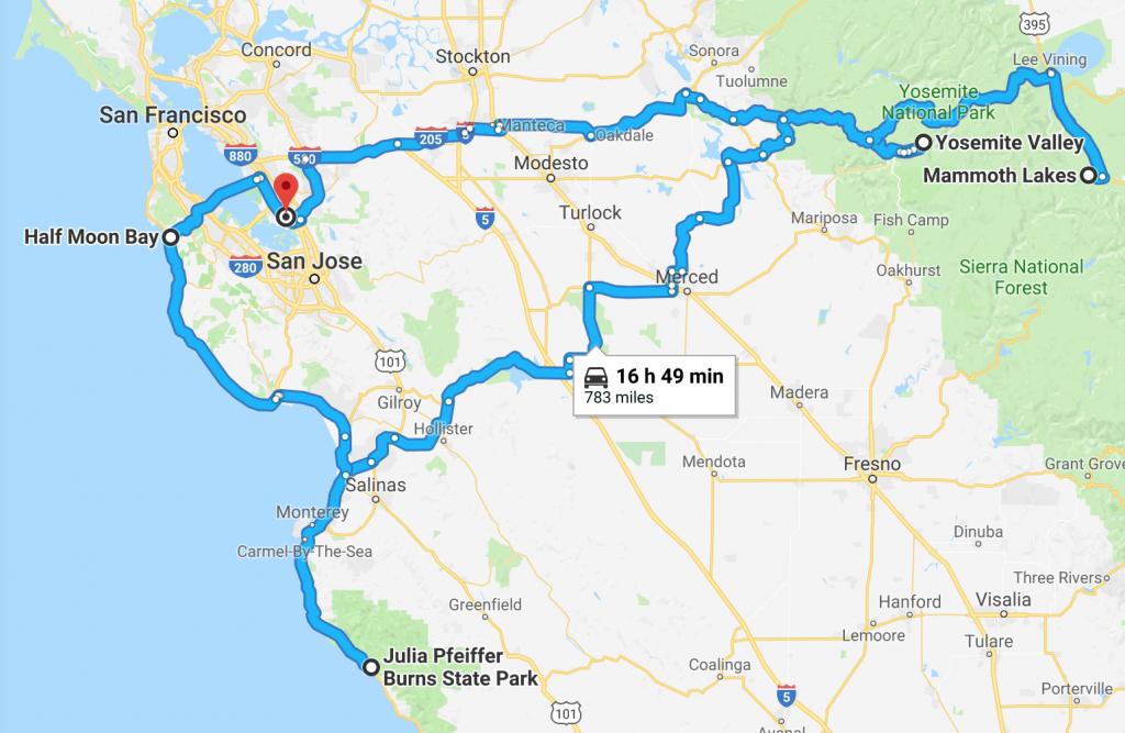 One Week In Northern California: Road Trip Itinerary | Frugal Frolicker - Northern California Road Trip Map