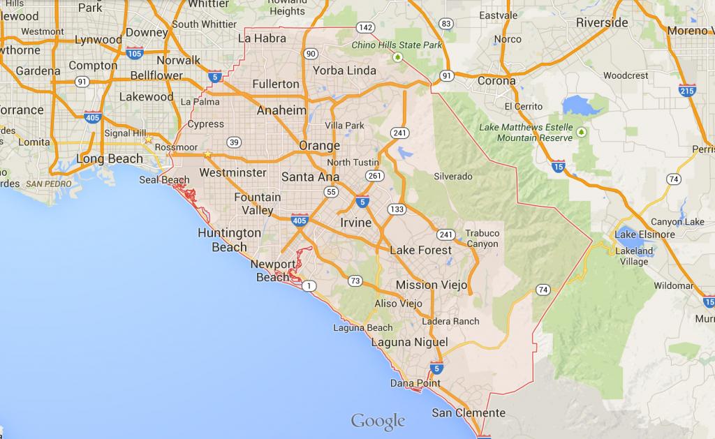 Orange County California Google Maps And Travel Information - Anaheim California Google Maps