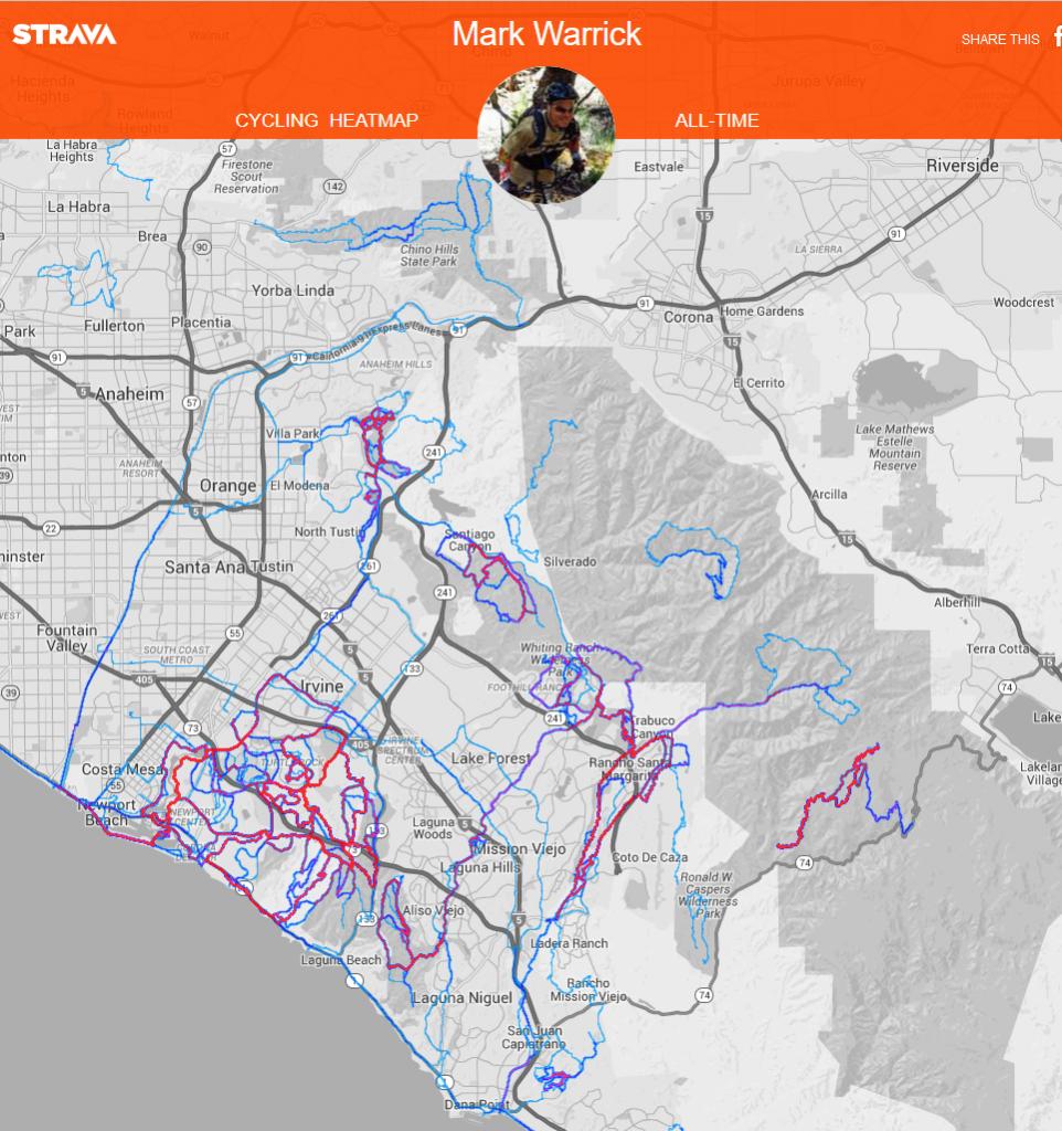 Orange-County-Heatmap - Southern California Guided Mountain Biking Tours - Heat Map Southern California