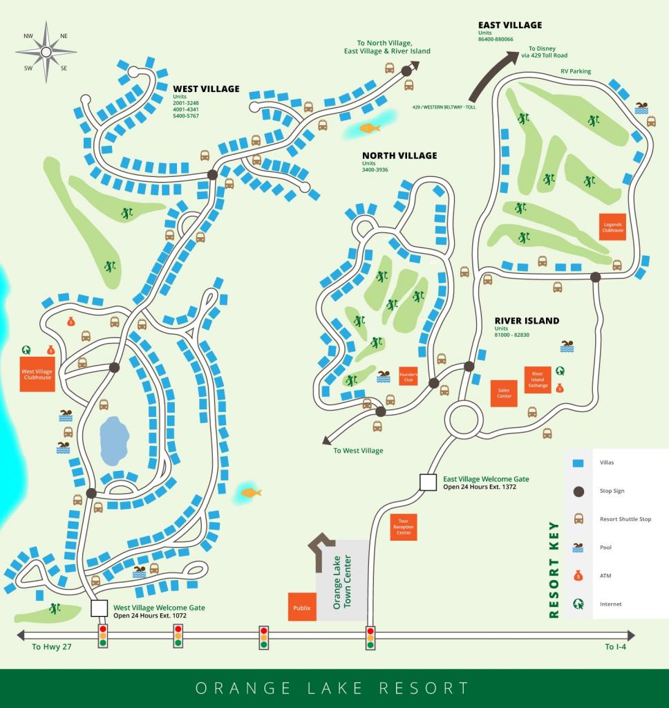 Orange Lake Resort Map, Orlando, Florida - Orange Lake Florida Map