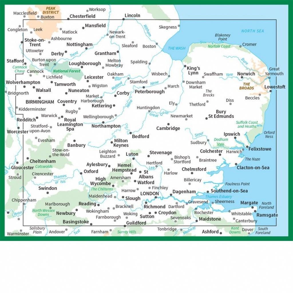 Ordnance Survey Road Map 5 - East Midlands & East Anglia - Printable Map Of East Anglia