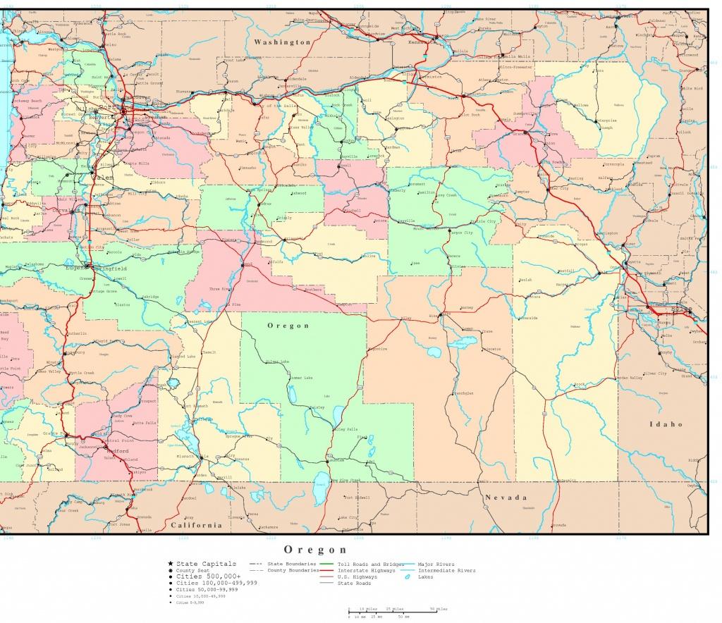Oregon Political Map - Printable Map Of The Oregon Trail