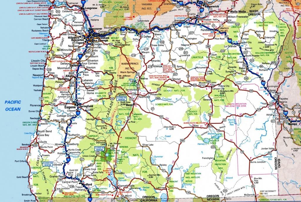 Oregon Road Map - Printable Map Of Oregon