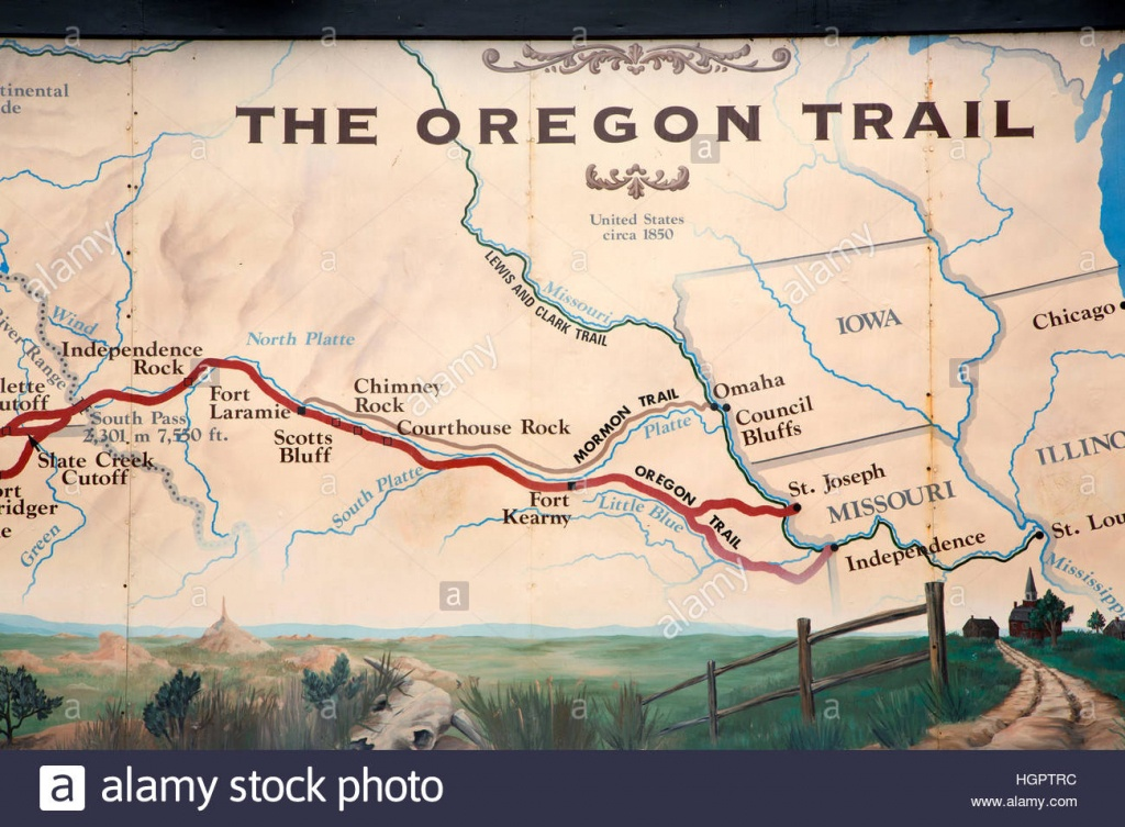 Oregon Trail Map Stock Photos & Oregon Trail Map Stock Images - Alamy - Printable Map Of The Oregon Trail