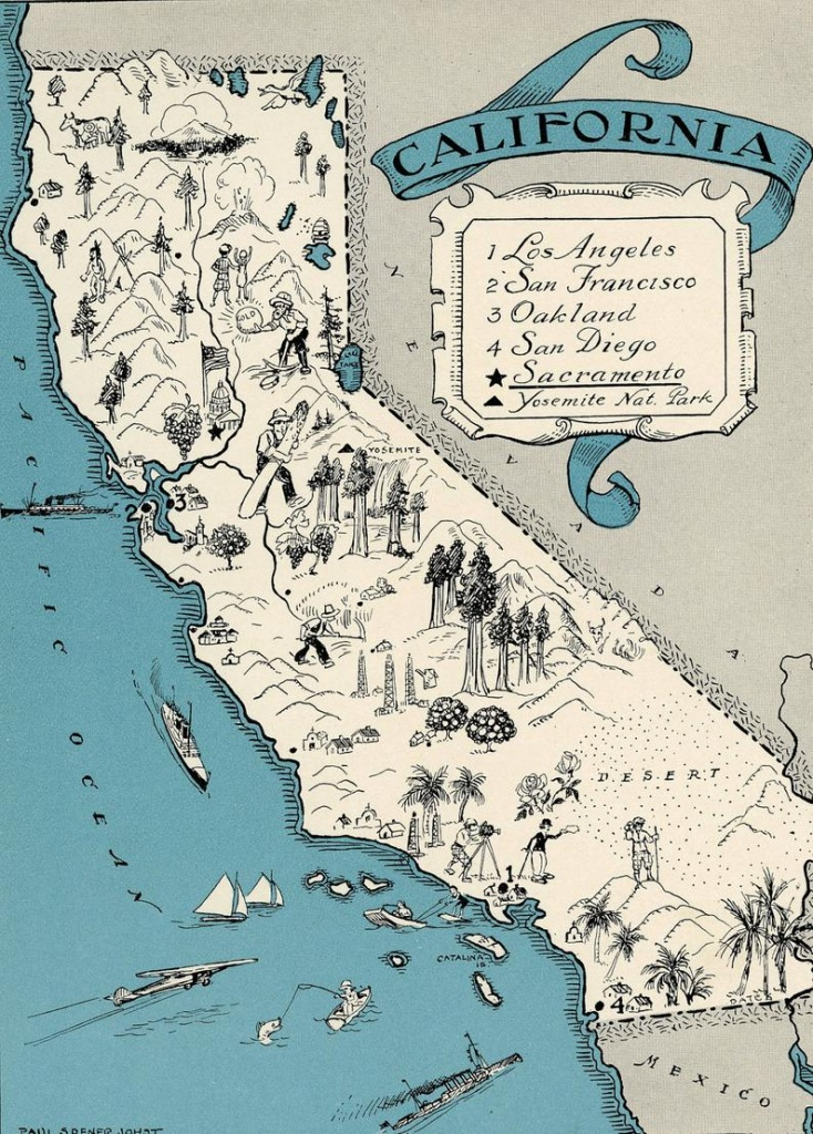 Original 1931 California Map Vintage Picture Map Antique Map | Etsy - Vintage California Map