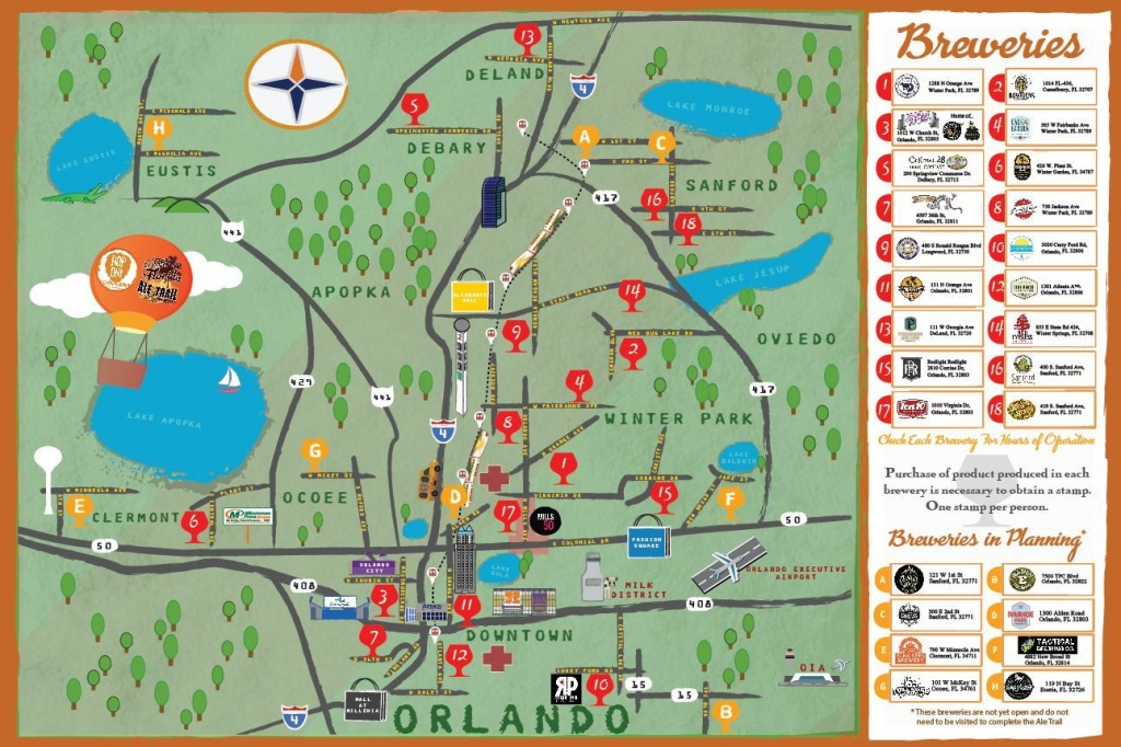 Orlando Brewery Guide - Brewintel | Road Trippin In 2019 | Orlando - Central Florida Ale Trail Map