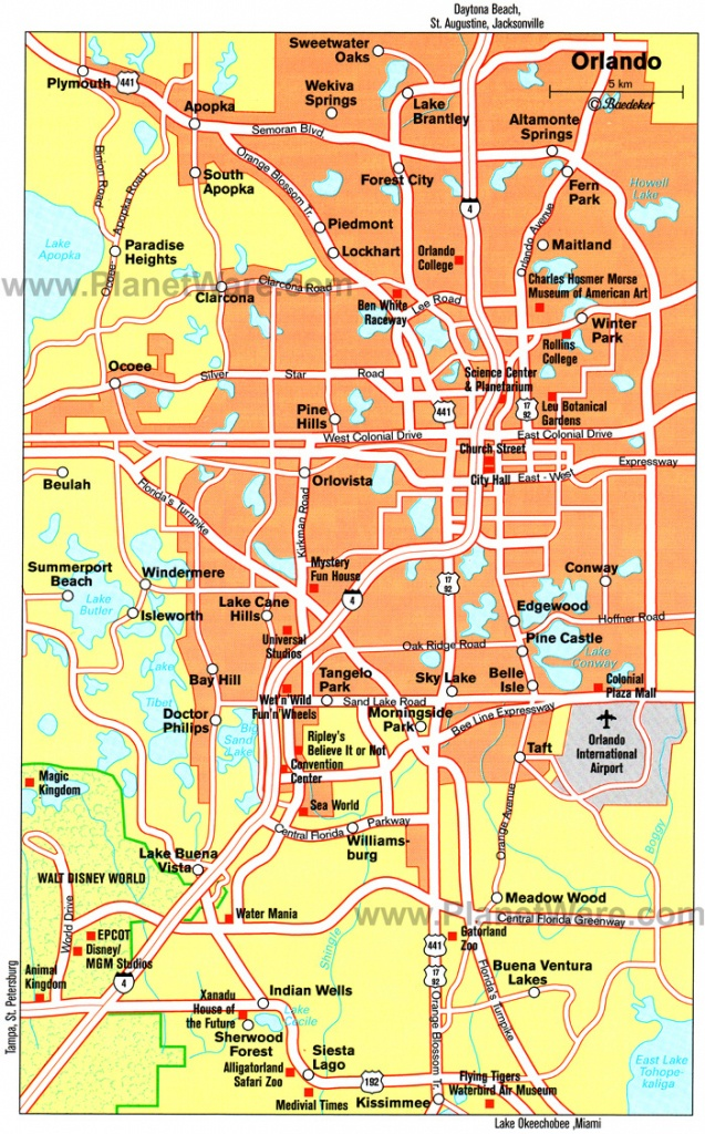 Orlando Cities Map And Travel Information | Download Free Orlando - Road Map Of Orlando Florida