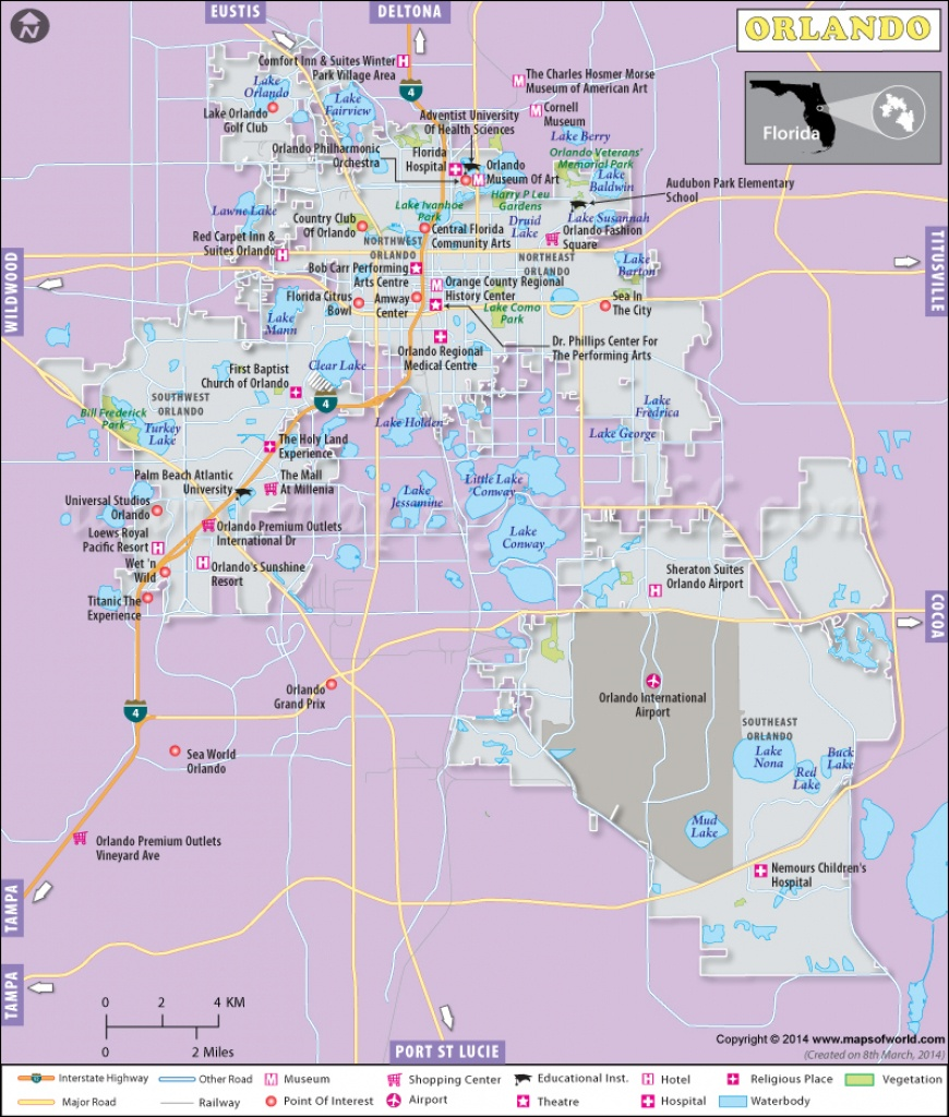 Orlando Map, Map Of Orlando Florida (Fl) - Map Of Orlando Florida Area