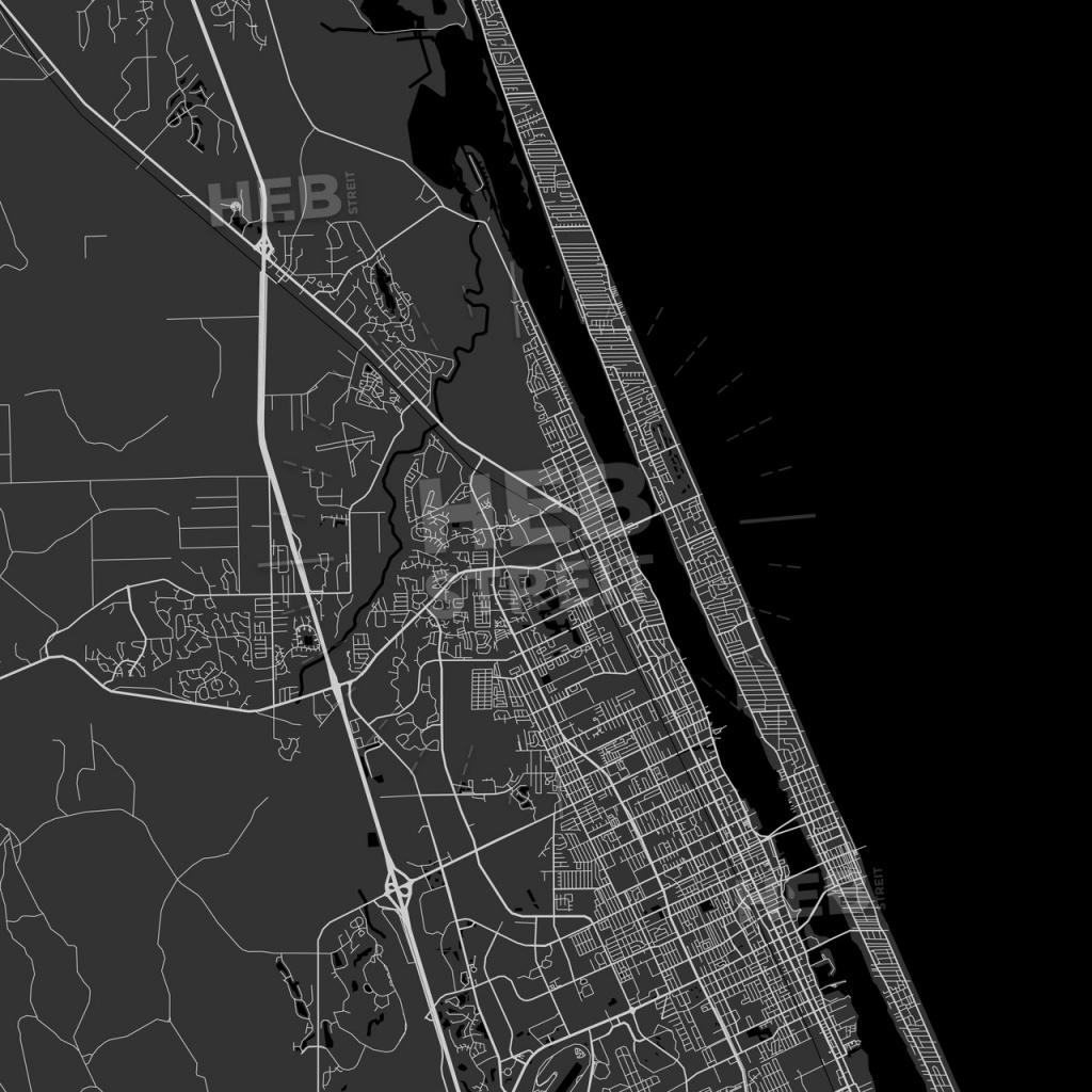Ormond Beach, Florida - Area Map - Dark | Hebstreits Sketches - Street Map Of Ormond Beach Florida