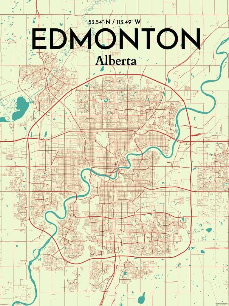 Ourposter 'edmonton City Map' Graphic Art Print Poster In - Printable Map Of Edmonton