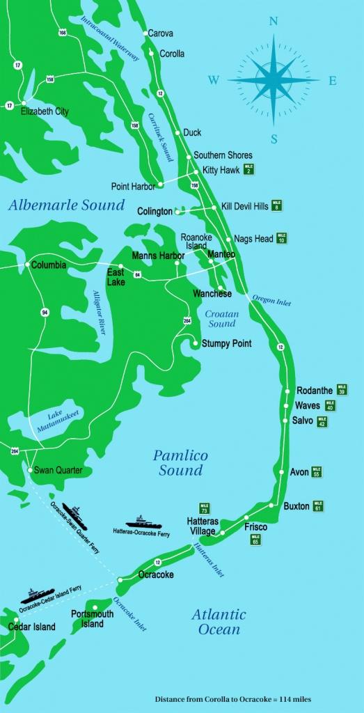 Outer Banks Map | Outer Banks, Nc - Printable Map Of Outer Banks Nc