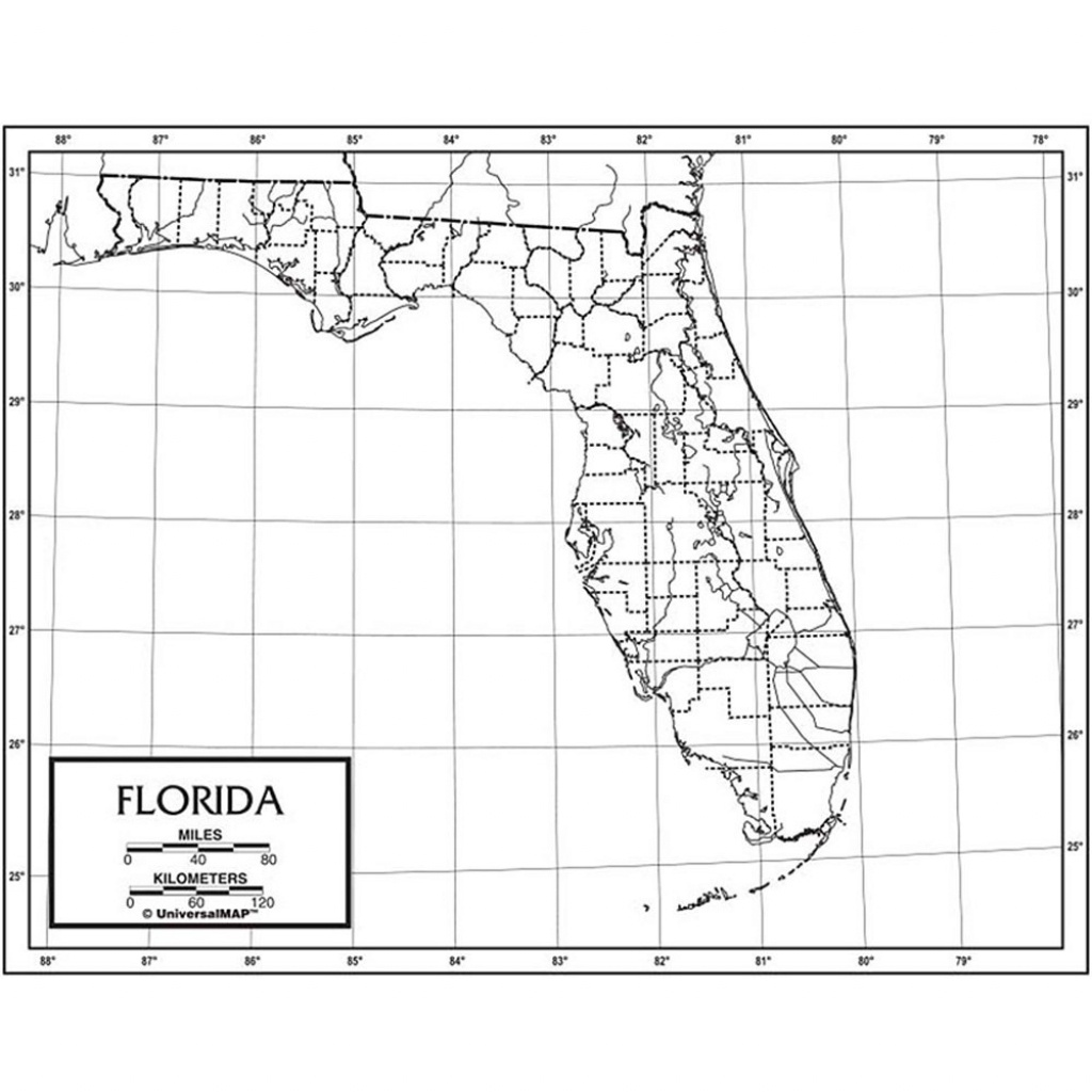 Outline Map Laminated Florida - Uni21231 | Kappa Map Group - Laminated Florida Map
