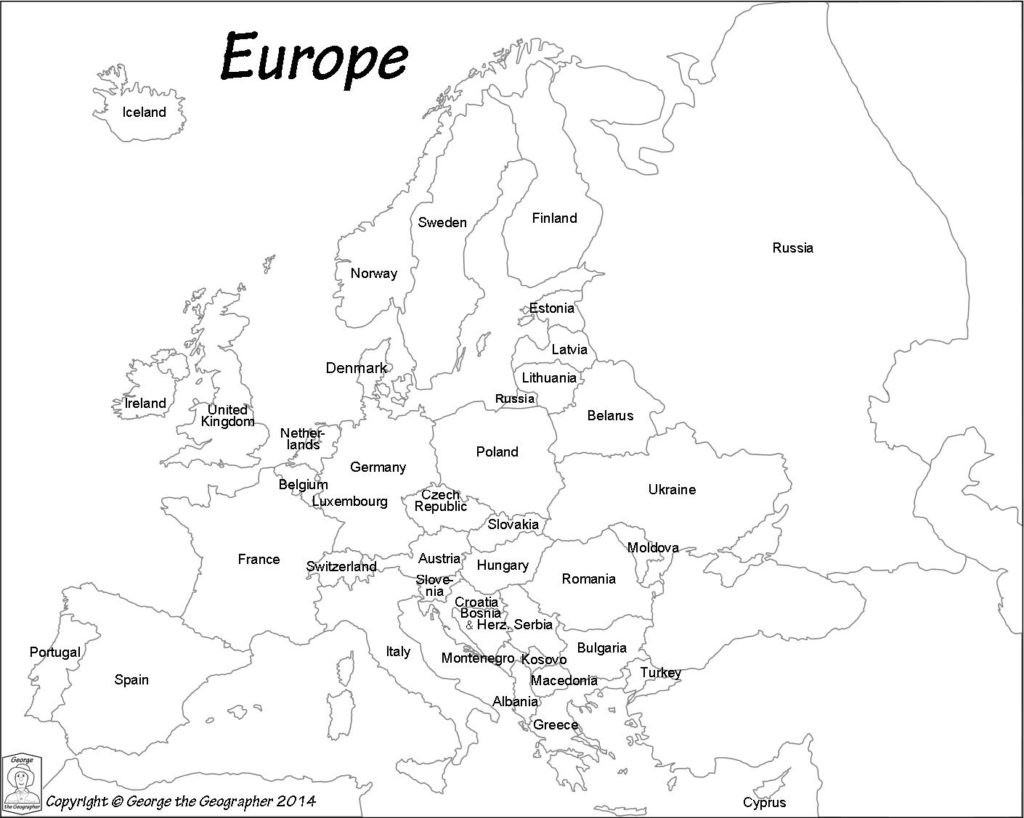 Outline Map Of Europe Political With Free Printable Maps And For - Printable Black And White Map Of Europe