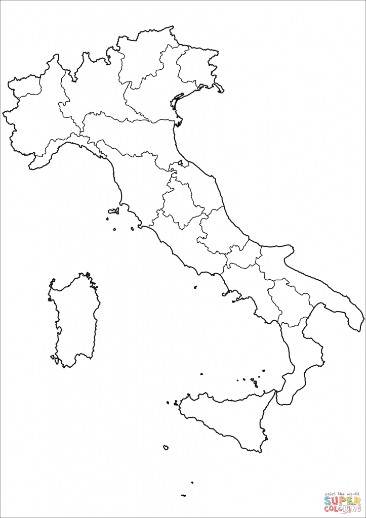 Outline Map Of Italy With Regions Coloring Page | Free Printable - Printable Blank Map Of Italy