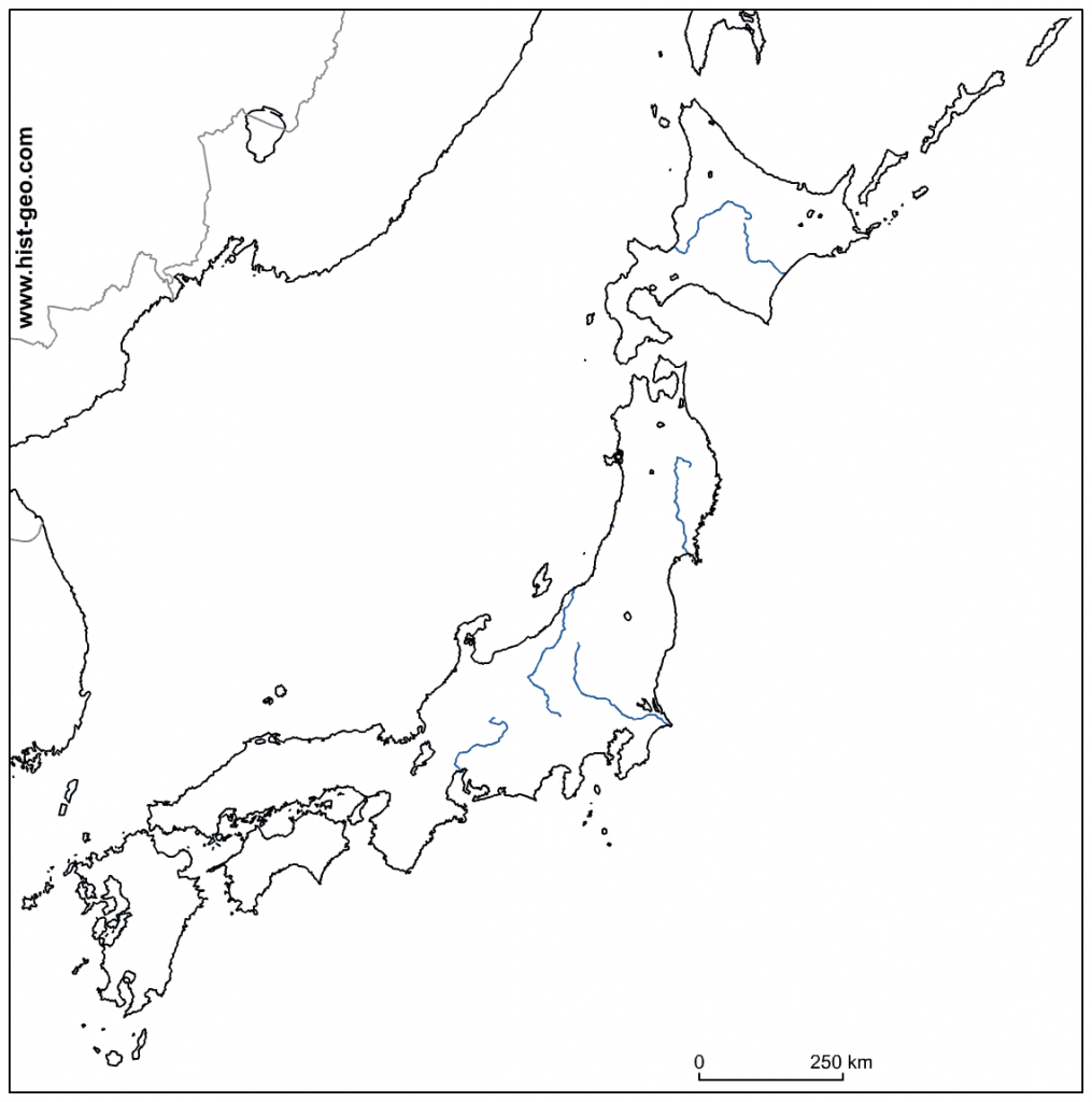 Outline Map Of Japanese Rivers - Printable Map Of Japan