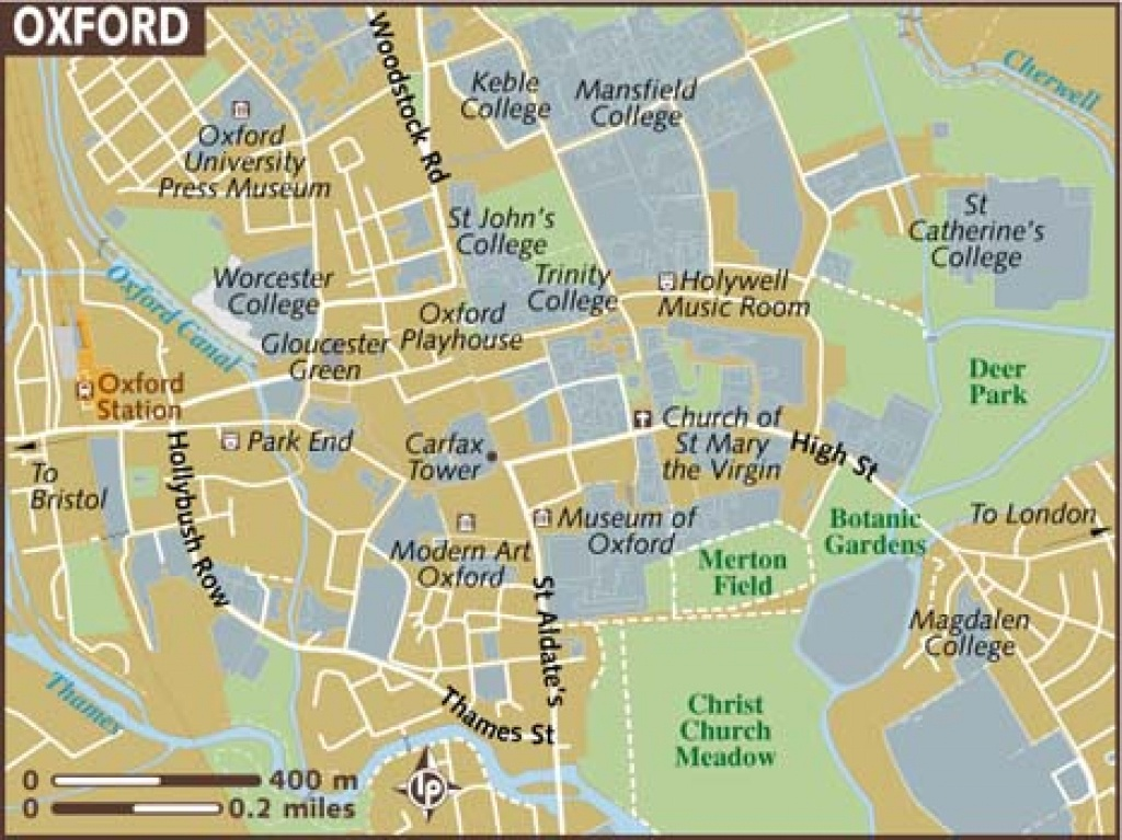 Oxford Maps - Top Tourist Attractions - Free, Printable City Street Map - Printable City Maps