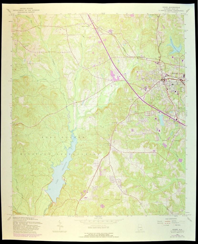 Ozark Map Of Ozark Alabama Art Print Wall Decor Large Topographic - Usgs Printable Maps