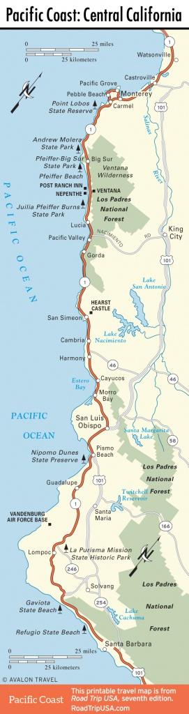 Pacific Coast Route: San Simeon & Hearst Castle, Ca   Road Trip Usa - California Coast Drive Map