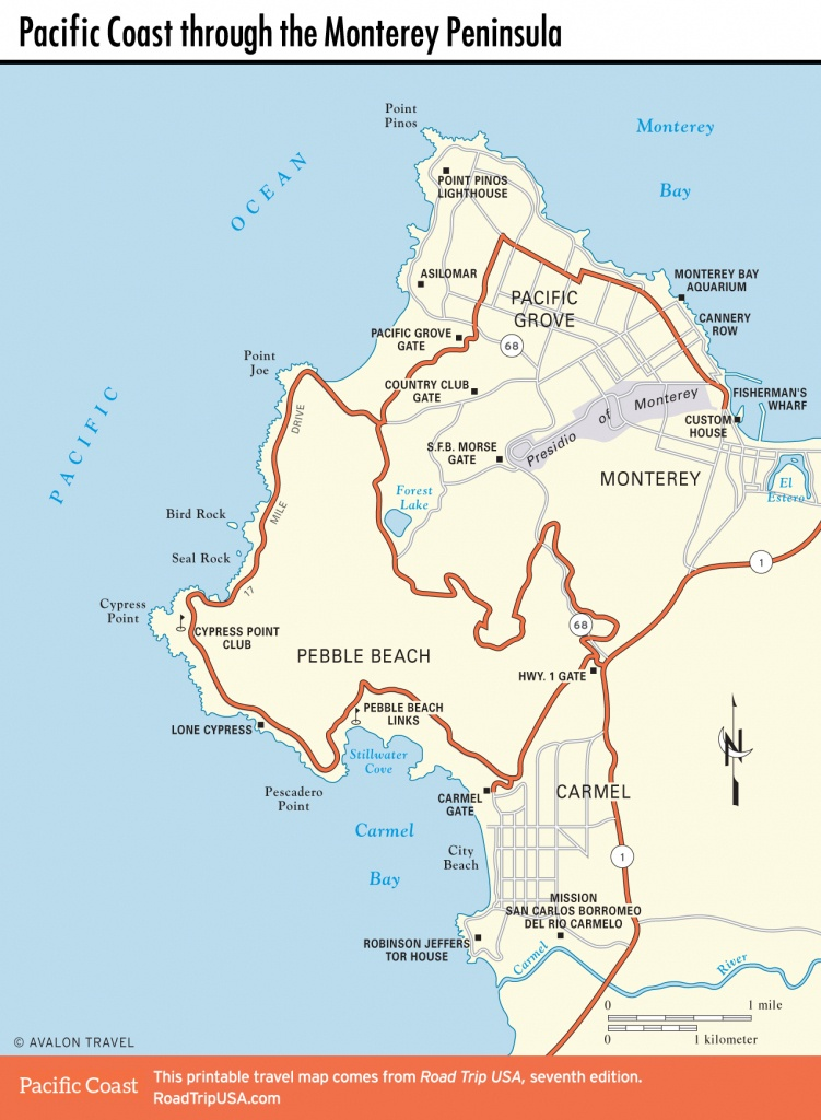 Pacific Coast Route Through Monterey, California | Road Trip Usa - Monterey Beach California Map