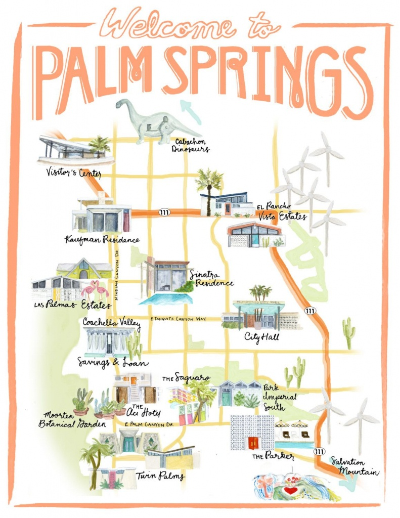 Palm Springs California Illustrated Travel Map Print Of Watercolor - Map Of California Showing Palm Springs