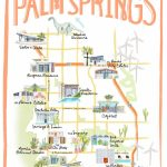 Palm Springs California Illustrated Travel Map Print Of Watercolor   Where Is Palm Springs California On A Map
