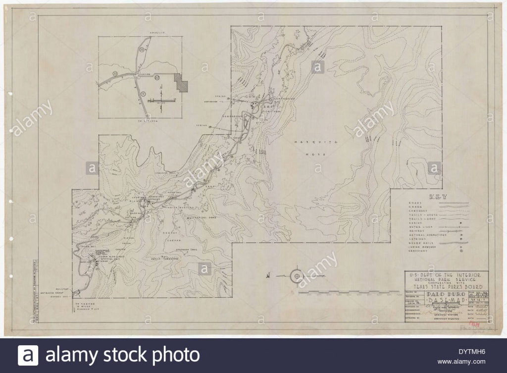 Palo Duro Canyon State Park - Base Map - Sp.14.2 Stock Photo - Palo Duro Canyon Map Of Texas