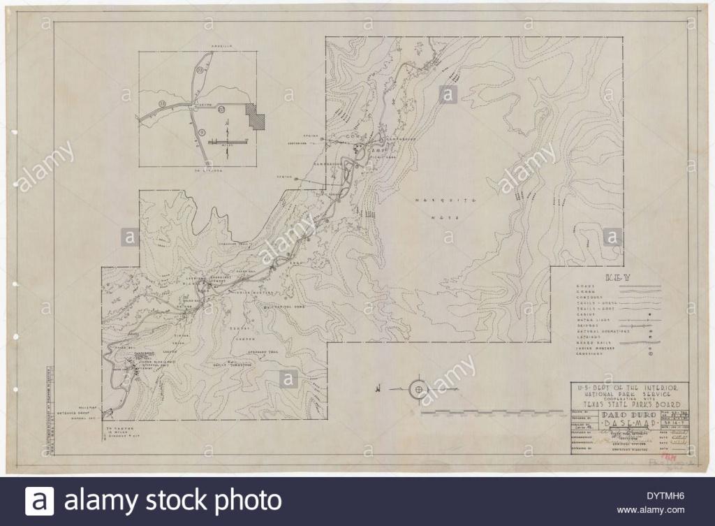 Palo Duro Canyon State Park - Base Map - Sp.14.2 Stock Photo - Palo Duro Canyon Map Of Texas