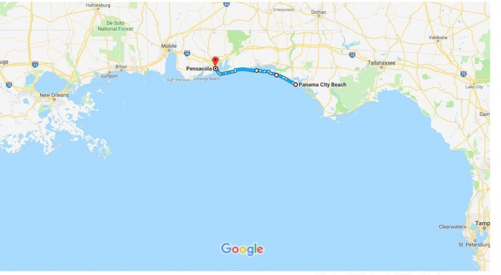 Panama City Beach, Fl To Pensacola, Fl – Google Maps   Urban Bicycle - Panama Beach Florida Map